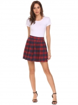 Red Women Casual High Waist Mini Plaid Buttons Pleated Skirt