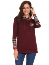 Wine red Hooded Long Sleeve Printed Pullover Pocket Hoodie