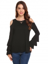 Black Women Casual Crossing Straps V-Neck Flare Ruffle Long Sleeve Solid Sexy Blouse Casual Tops