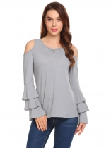 Grey Women Casual Crossing Straps V-Neck Flare Ruffle Long Sleeve Solid Sexy Blouse Casual Tops
