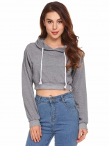 Dark Grey Women Hooded Sweatshirts Long Sleeve Solid Casual Pullover Crop Top Hoodies