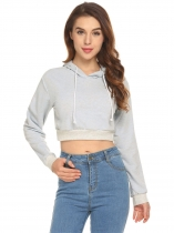light grey Women Hooded Sweatshirts Long Sleeve Solid Casual Pullover Crop Top Hoodies