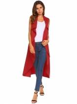 Red Women Front Open Stitch Sleeveless Solid Vest Coat Cardigan with Belt