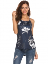 Blue white Women Spaghetti Strap Printed Strappy High Low Hem Cami Swing Vest Top