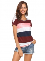 Pink Women Casual O-Neck Short Sleeve Patchwork Contrast Color Sexy T-shirt Tops