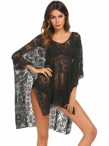 Black Loose V-Neck Short Batwing Sleeve Beach Cover-up