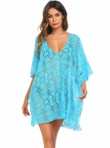 Light blue Loose V-Neck Short Batwing Sleeve Beach Cover-up