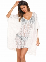 White Women Loose V-Neck Short Batwing Sleeve Pullover Blouse Top Beach Cover-up