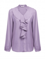 Light purple Women Casual V Neck Puff Sleeve Solid Ruffles Loose Chiffon Shirt Blouse
