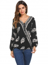 Black Women Long Sleeve Front Drawstring Print Wrap Top Blouse