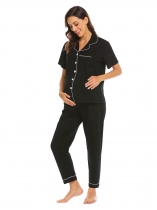 Black Women Long Sleeve Maternity Nursing Breastfeeding Sleepwear Pajamas Set