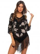 Black Women 3/4 Sleeve Hollow Out Knitting Patchwork Tassel Hem Cover Up