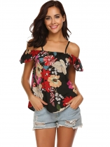Black Women Spaghetti Strap Cold Shoulder Ruffles Sleeve Floral Casual Blouse Top