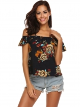 Navy blue Women Spaghetti Strap Cold Shoulder Ruffles Sleeve Floral Casual Blouse Top