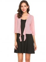 Pink Women 3/4 Sleeve Tie Up Solid Summer Casual Crop Cardigan Top