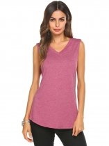 Purple Women V-Neck Sleeveless Solid Summer Loose Fit Casual Tank Top