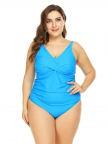 Light blue Women Sexy Padded Backless Ruched Solid One Piece Swimwear Plus