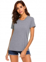 Grey Women Fashion O-Neck Short Sleeve Back Hollow Out Casual T-Shirt Top