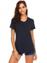Navy blue Women Fashion O-Neck Short Sleeve Back Hollow Out Casual T-Shirt Top