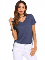 Navy blue Women V-Neck Short Sleeve High Low Side Split Casual Solid T-Shirt Tops