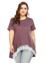 Rose red O-Neck Short Sleeve Lace Trim Asymmetrical Casual Loose Blouse Plus Size
