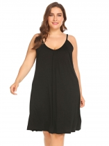 Black Women Casual Solid V-Neck Sleeveless Nightdress Summer Sleepwear