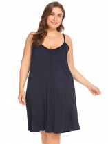 Navy blue Femmes Casual Solid V Neck Sleeveless Nightdress vêtements de nuit d'été