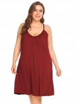 Wine red Women Casual Solid V-Neck Sleeveless Nightdress Summer Sleepwear