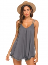 Grey Women Flowy Tassel Solid V Neck Strappy Loose Tank Tops