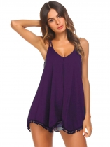 Purple Women Flowy Tassel Solid V Neck Strappy Loose Tank Tops