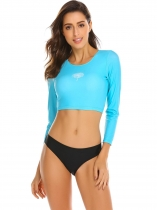 Blue Women's Long Sleeve Back Lace-up Swimwear Rash Guard Tops and Briefs