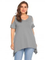 Grey Women Solid Off Shoulder Asymmetrical Hem Design Blouse