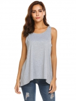 Grey Women Lace Open Back Tank O-Neck Sleeveless Top Blouse