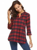 Red Women's V-Neck Plaid Pullover Blouse Top With Trumpet Sleeves