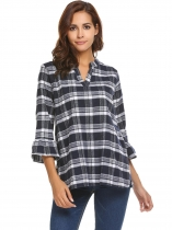 White Women's V-Neck Plaid Pullover Blouse Top With Trumpet Sleeves