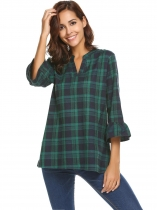 Green Women's V-Neck Plaid Pullover Blouse Top With Trumpet Sleeves