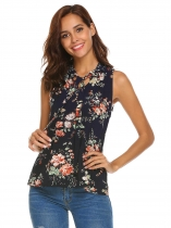 Navy blue Women Tie V-Neck Sleeveless Floral Print Casual Loose Chiffon Shirt Blouse Tops