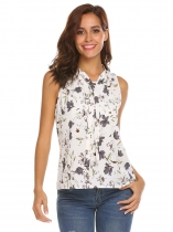 White Women Tie V-Neck Sleeveless Floral Print Casual Loose Chiffon Shirt Blouse Tops