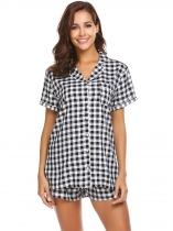 Black Pajama Set Womens Plaid Short Sleeve Sleepwear Soft Lougewear