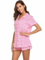 Pink Pajama Set Womens Plaid Short Sleeve Sleepwear Soft Lougewear