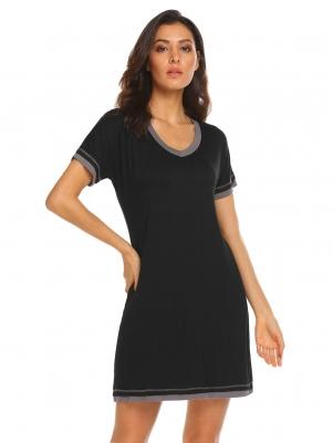 94c88b604d Black Women V-Neck Short Sleeve Patchwork Loose Nightshirt Nightgown