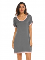 Dark Grey Women V-Neck Short Sleeve Patchwork Loose Nightshirt Nightgown