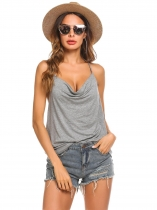 Grey Women Sexy Halter Cowl Neck Sleeveless Casual Solid Tops
