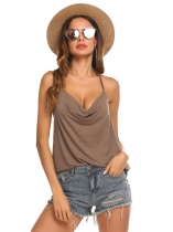1 Women Sexy Halter Cowl Neck Sleeveless Casual Solid Tops