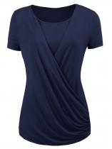 Navy blue Womens O-Neck Short Sleeve Solid Casual Wrap Front Open Top Blouse