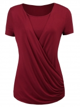 Wine red Womens O-Neck Short Sleeve Solid Casual Wrap Front Open Top Blouse