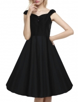 Black Retro Women 1950s Vintage Style Sleeveless Swing Party Midi Going Out Dresses