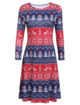 Round Neck 3/4 Sleeve Christmas Print A-Line Robe courte