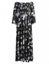 Women's Off the Shoulder Flare Sleeve Floral Side Slit Evening Party Long Maxi Dress