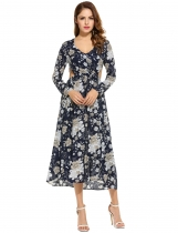 New Women Sexy V-Neck Long Sleeve Prints Hollow Out Side Split Long Dress